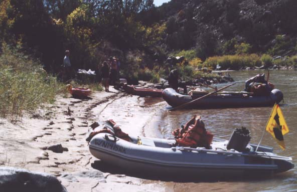 Our rafts tied along the bank of the river
