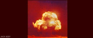 "The only color photograph available for the Trinity blast, taken by Los Alamos scientist and amateur photographer Jack Aeby from near Base Camp. As Aeby later said, ""It was there so I shot it."""